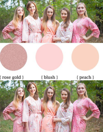 Blush, Peach and Rose Gold Wedding Colors Bridesmaids Robes|Blush, Peach and Rose Gold Wedding Colors Bridesmaids Robes|Blush, Peach and Rose Gold Wedding Colors Bridesmaids Robes
