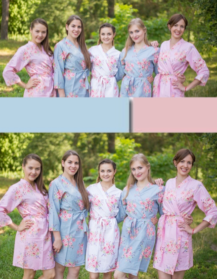 Pink and Silver Blue Wedding Colors Bridesmaids Robes|Pink and Silver Blue Wedding Colors Bridesmaids Robes|Pink and Silver Blue Wedding Colors Bridesmaids Robes