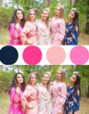 Shades of Pink and Navy Blue Wedding Colors Bridesmaids Robes