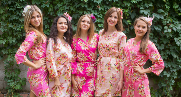 Shades of Pink Wedding Colors Bridesmaids Robes