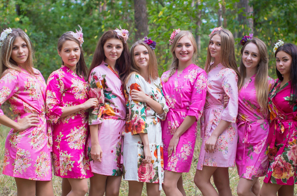 Shades of Pink Wedding palette Bridesmaids Robes
