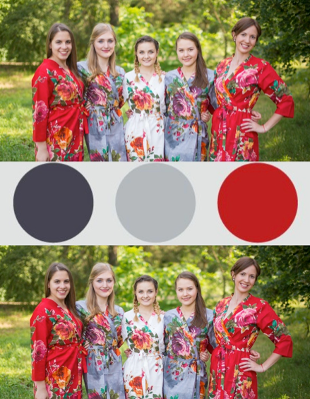 Red and Gray Wedding Colors Bridesmaids Robes|Red and Gray Wedding Colors Bridesmaids Robes|Red and Gray Wedding Colors Bridesmaids Robes