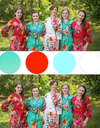 Red and Aqua Wedding Colors Bridesmaids Robes