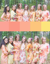 Peach and Yellow Wedding Colors Bridesmaids Robes