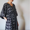 Black Aztec Front Buttoned Empire Waist Caftan Dress, Comfortable House Dress