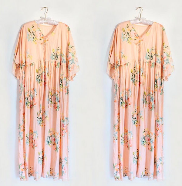 Blush Floral Maternity Front Buttoned Empire Waist Caftan Dress