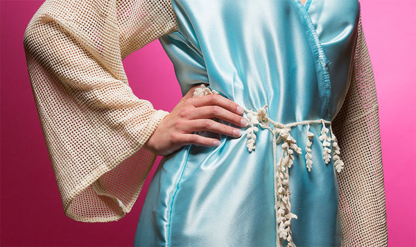 Sky Blue Satin Robe with Full Length Lace Sleeves