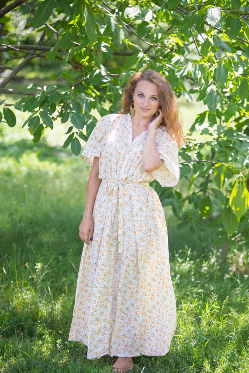 Light Yellow Best of both the worlds Style Caftan in Starry Floral Pattern|Light Yellow Best of both the worlds Style Caftan in Starry Floral Pattern|Starry Florals