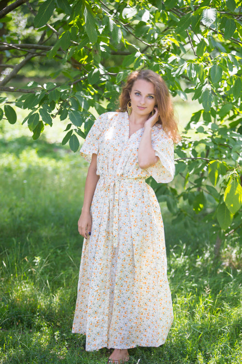 Light Yellow Best of both the worlds Style Caftan in Starry Floral Pattern