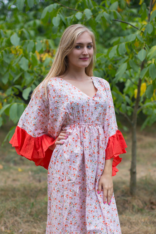 Pink Frill Lovers Style Caftan in Starry Florals Pattern