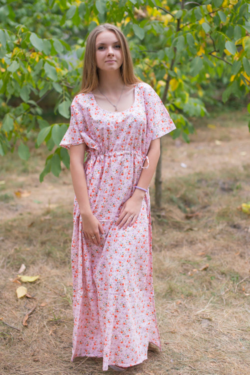 Pink Side Strings Sweet Style Caftan in Starry Florals Pattern