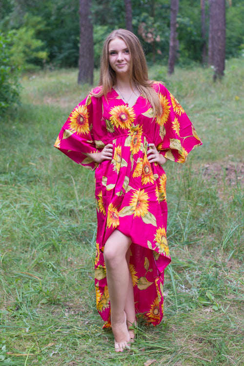 Magenta High Low Wind Flow Style Caftan in Sunflower Sweet Pattern|Magenta High Low Wind Flow Style Caftan in Sunflower Sweet Pattern|Sunflower Sweet