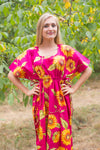 Magenta Side Strings Sweet Style Caftan in Sunflower Sweet Pattern
