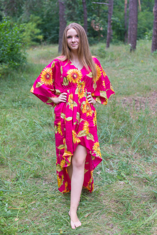 Magenta High Low Wind Flow Style Caftan in Sunflower Sweet Pattern