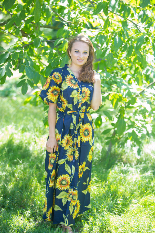 Navy Blue Best of both the worlds Style Caftan in Sunflower Sweet Pattern|Navy Blue Best of both the worlds Style Caftan in Sunflower Sweet Pattern|Sunflower Sweet