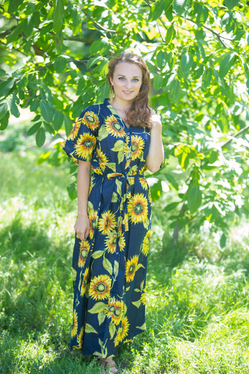 Navy Blue Best of both the worlds Style Caftan in Sunflower Sweet Pattern