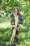 Navy Blue The Glow-within Style Caftan in Sunflower Sweet Pattern
