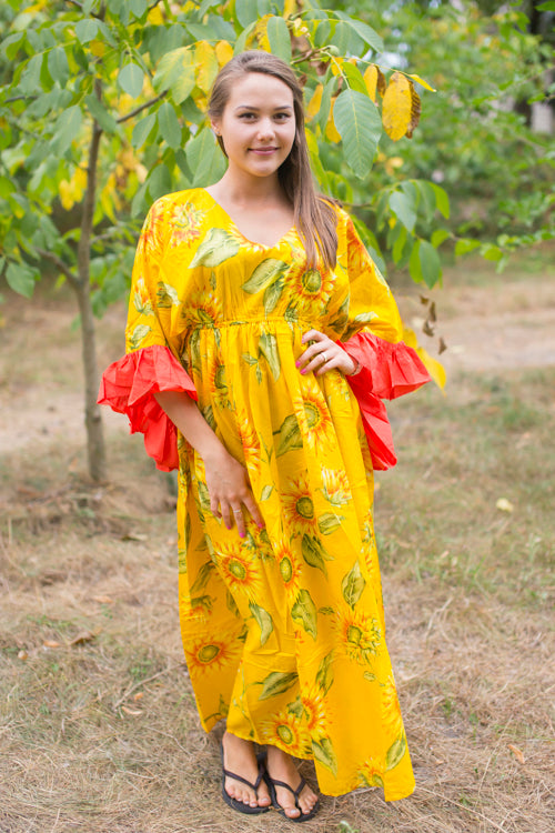Yellow Frill Lovers Style Caftan in Sunflower Sweet Pattern|Yellow Frill Lovers Style Caftan in Sunflower Sweet Pattern|Sunflower Sweet