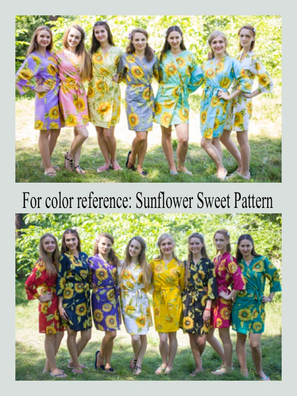 Yellow Frill Lovers Style Caftan in Sunflower Sweet Pattern
