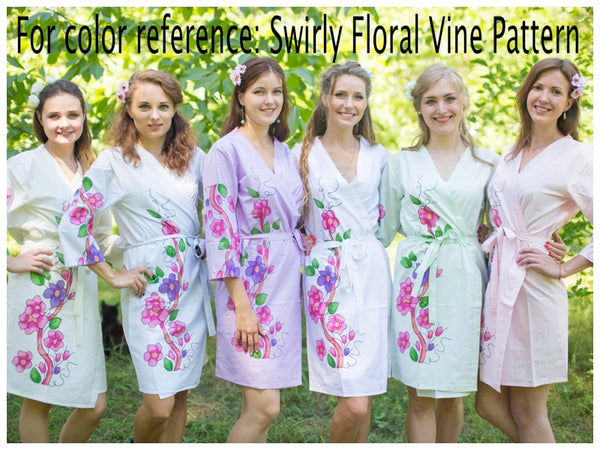 Light Yellow Swirly Floral Vine Pattern Bridesmaids Robes