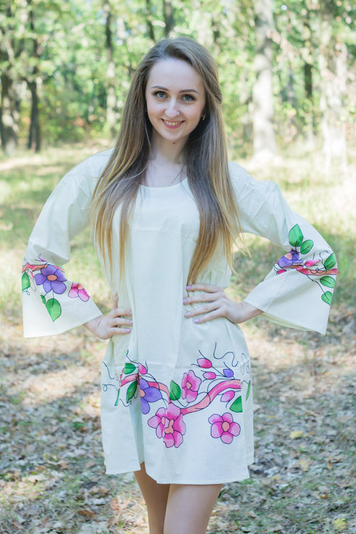 Light Yellow Bella Tunic Style Caftan in Swirly Floral Vine Pattern|Light Yellow Bella Tunic Style Caftan in Swirly Floral Vine Pattern|Swirfly Floral Vine