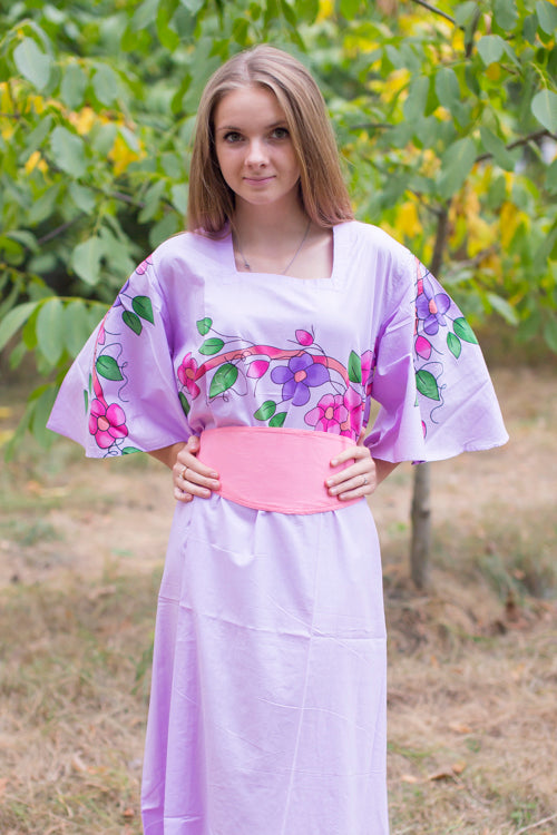 Lilac Beauty, Belt and Beyond Style Caftan in Swirly Floral Vine|Lilac Beauty, Belt and Beyond Style Caftan in Swirly Floral Vine|Swirfly Floral Vine