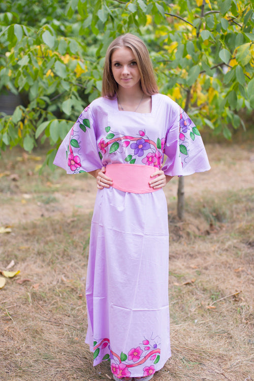 Lilac Beauty, Belt and Beyond Style Caftan in Swirly Floral Vine