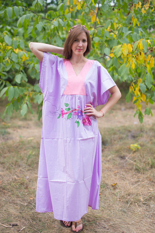 Lilac Flowing River Style Caftan in Swirly Floral Vine Pattern