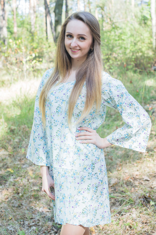 Light Blue Bella Tunic Style Caftan in Tiny Blossoms Pattern|Light Blue Bella Tunic Style Caftan in Tiny Blossoms Pattern|Light Blue Bella Tunic Style Caftan in Tiny Blossoms Pattern