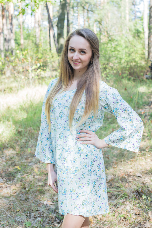 Light Blue Bella Tunic Style Caftan in Tiny Blossoms Pattern