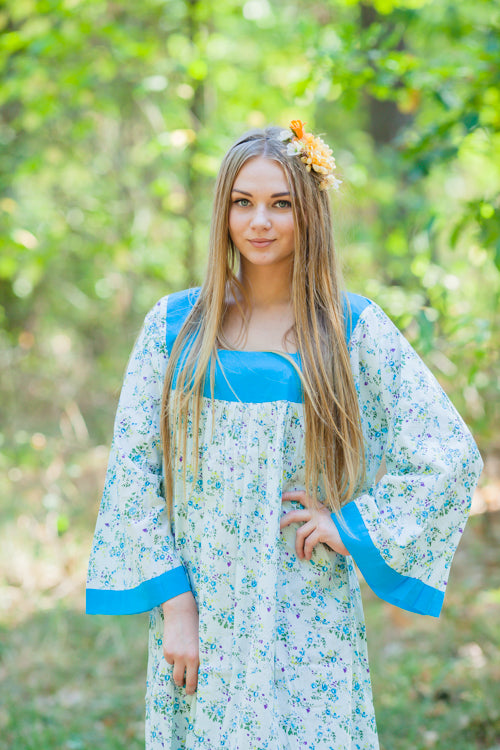 Light Blue Fire Maiden Style Caftan in Tiny Blossoms Pattern