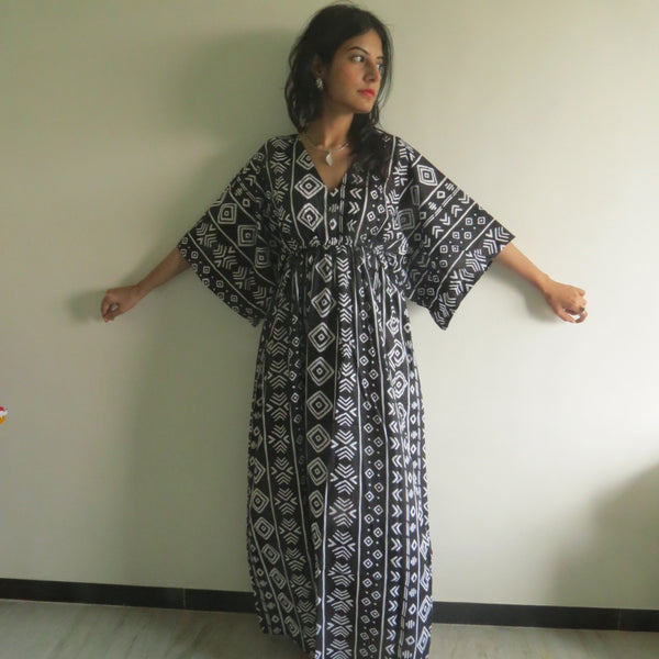 Black I Wanna Fly Style Caftan in Tribal Aztec Pattern, Cozy House Dress