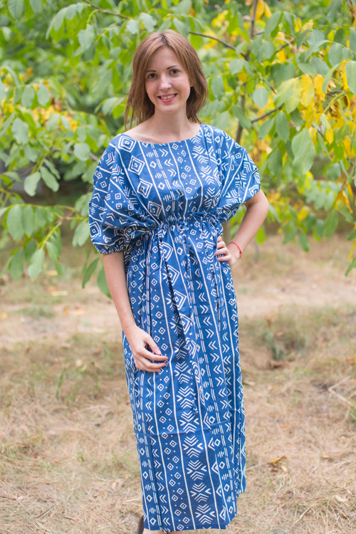 Dark Blue Cut Out Cute Style Caftan in Tribal Aztec Pattern