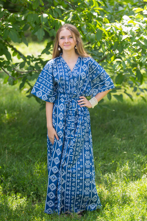 Dark Blue Best of both the worlds Style Caftan in Tribal Aztec Pattern|Dark Blue Best of both the worlds Style Caftan in Tribal Aztec Pattern|Tribal Aztec