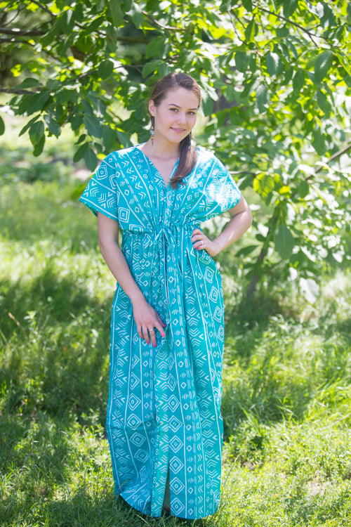 Teal Beach Days Style Caftan in Tribal Aztec