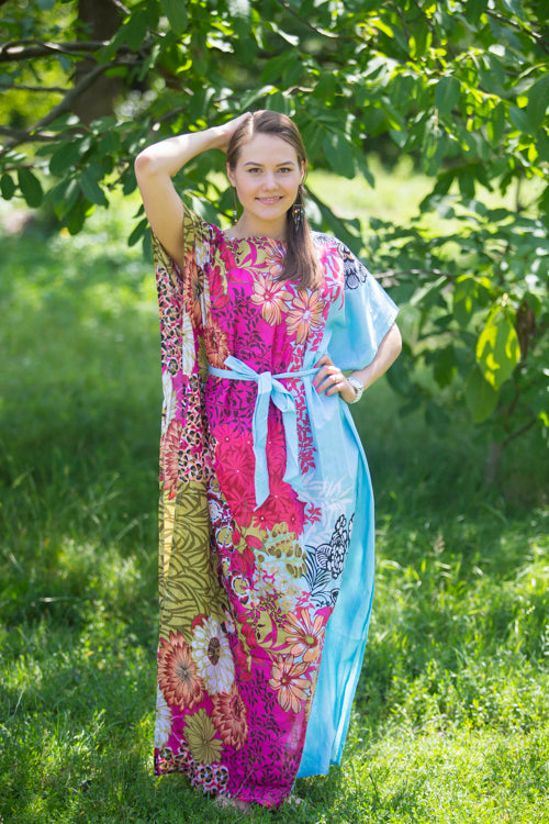 Light Blue Divinely Simple Style Caftan in Vibrant Foliage Pattern|Light Blue Divinely Simple Style Caftan in Vibrant Foliage Pattern|Vibrant Foliage