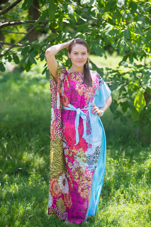 Light Blue Divinely Simple Style Caftan in Vibrant Foliage Pattern