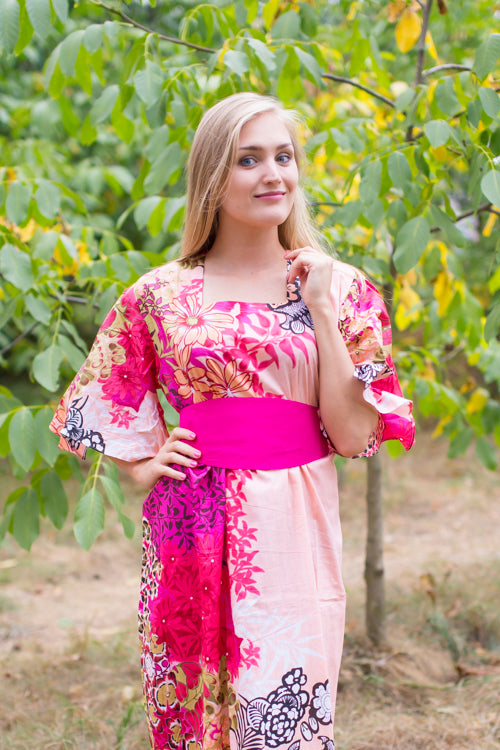 Peach Beauty, Belt and Beyond Style Caftan in Vibrant Foliage|Peach Beauty, Belt and Beyond Style Caftan in Vibrant Foliage|Vibrant Foliage