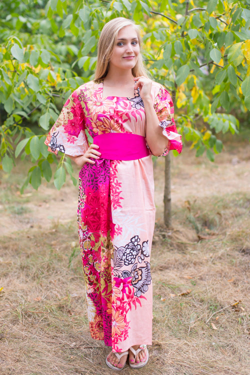 Peach Beauty, Belt and Beyond Style Caftan in Vibrant Foliage