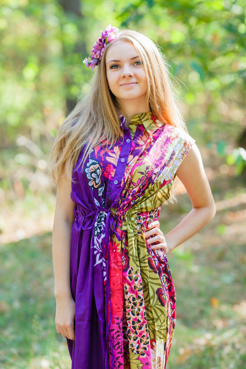 Purple Cool Summer Style Caftan in Vibrant Foliage Pattern|Purple Cool Summer Style Caftan in Vibrant Foliage Pattern|Vibrant Foliage