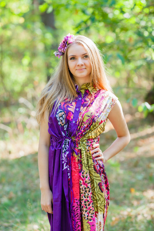 Purple Cool Summer Style Caftan in Vibrant Foliage Pattern