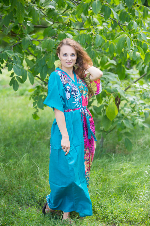 Teal Best of both the worlds Style Caftan in Vibrant Foliage Pattern