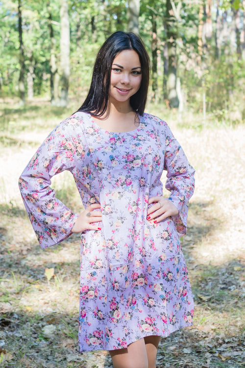 Lilac Bella Tunic Style Caftan in Vintage Chic Floral Pattern|Lilac Bella Tunic Style Caftan in Vintage Chic Floral Pattern|Vintage Chic Floral