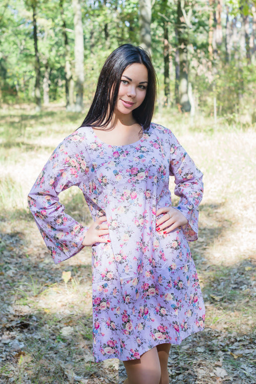 Lilac Bella Tunic Style Caftan in Vintage Chic Floral Pattern