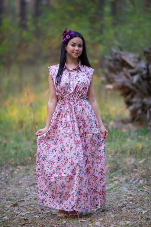 Pink Cool Summer Style Caftan in Vintage Chic Floral Pattern