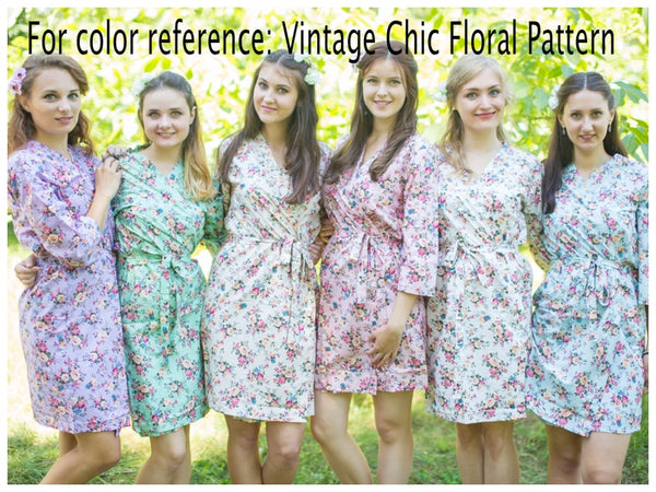 Mint Vintage Chic Floral Pattern Bridesmaids Robes
