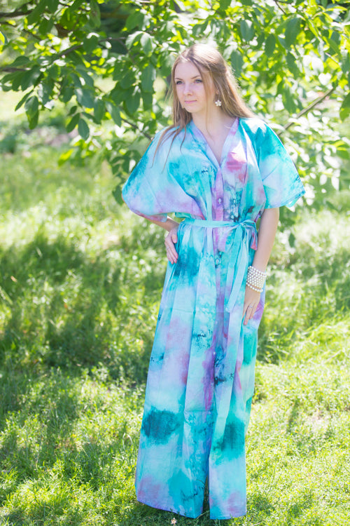 Teal Best of both the worlds Style Caftan in Watercolor Splash Pattern|Teal Best of both the worlds Style Caftan in Watercolor Splash Pattern|Watercolor Splash