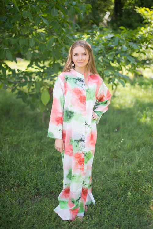 White Coral Charming Collars Style Caftan in Watercolor Splash Pattern