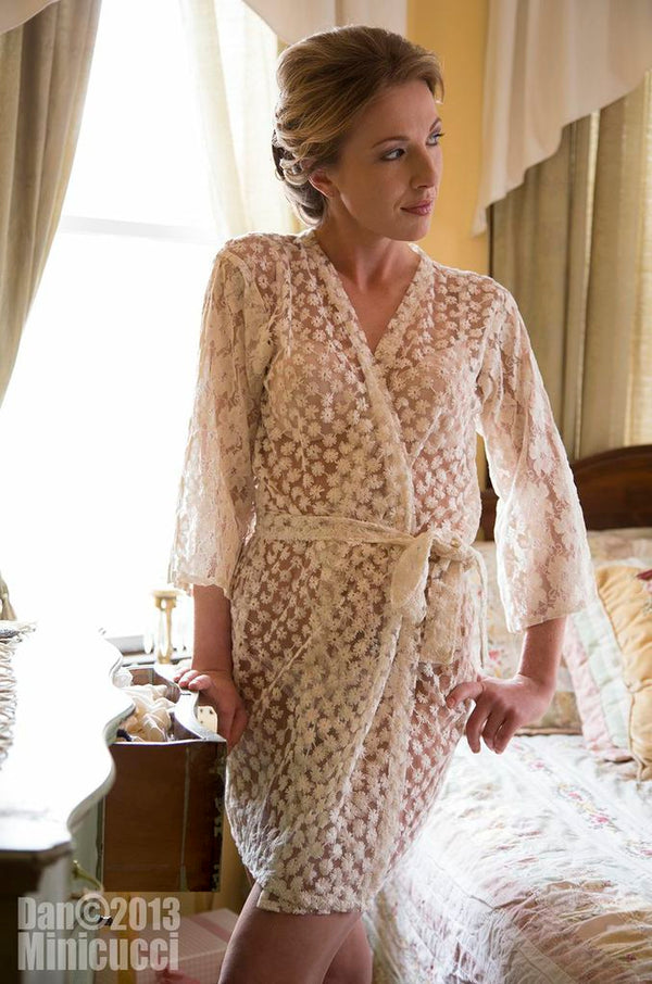 Sheer Ivory Lace Robe
