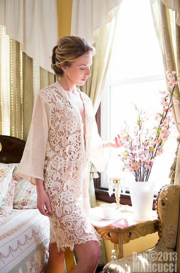 Unlined Ivory Mixed Pattern Lace Robe